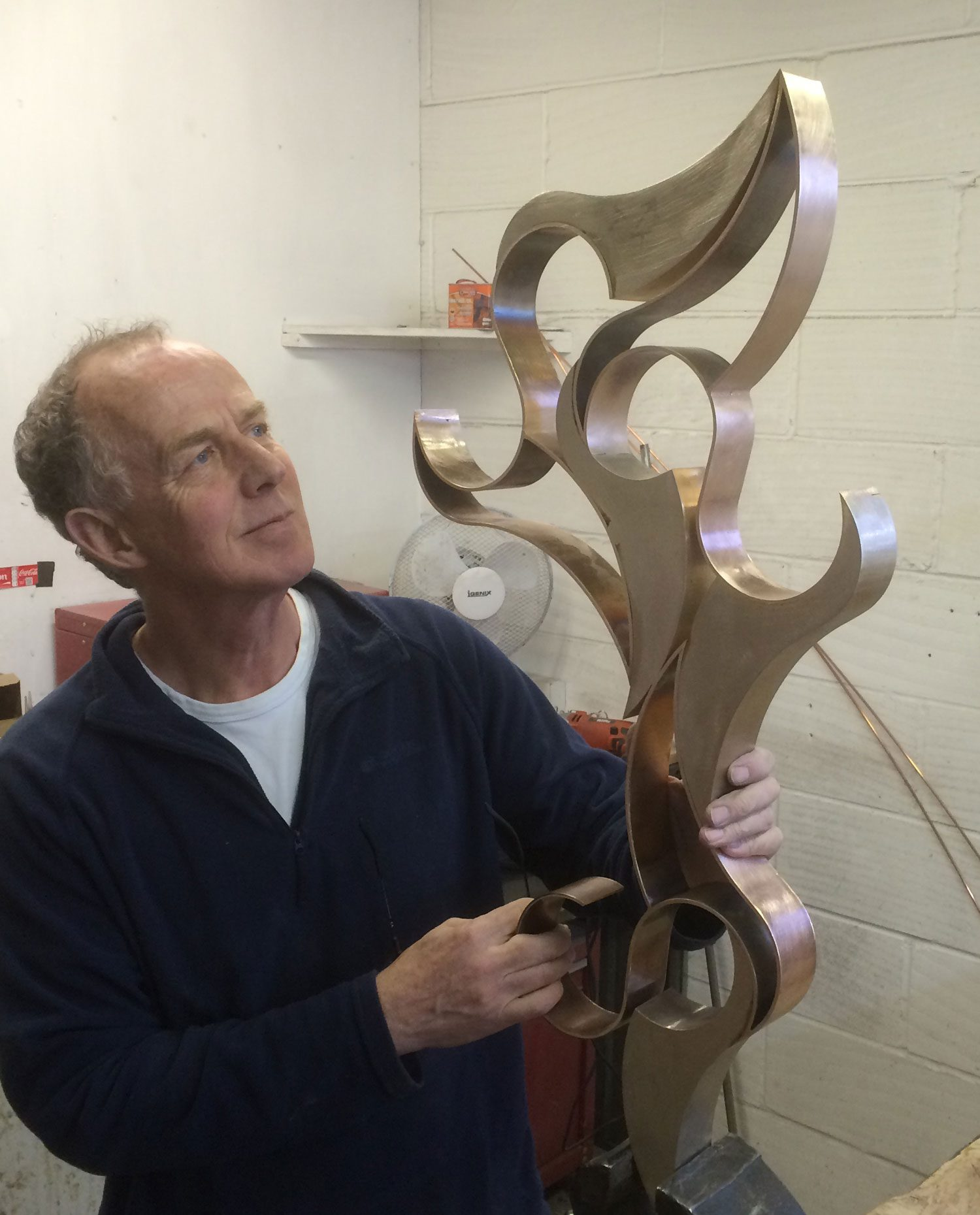 Richard looks up at his bronze sculpture